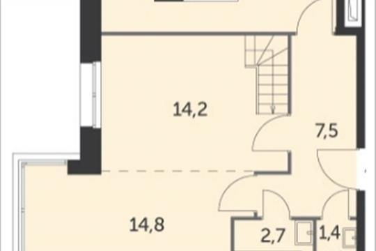 2-комнатная квартира, 80.5 м<sup>2</sup>, 22 этаж