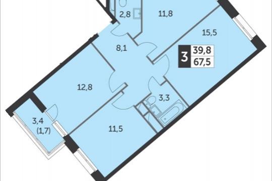 3-комнатная квартира, 67.5 м<sup>2</sup>, 16 этаж