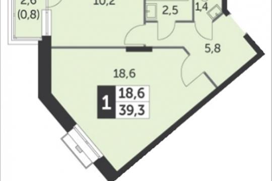 1-комнатная квартира, 40.2 м<sup>2</sup>, 2 этаж