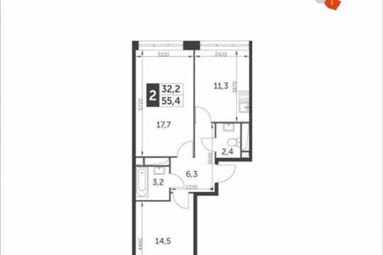 2-комнатная квартира, 55.4 м<sup>2</sup>, 10 этаж