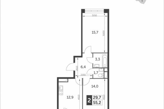 2-комнатная квартира, 55.2 м<sup>2</sup>, 7 этаж