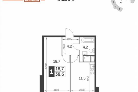 1-комнатная квартира, 38.6 м<sup>2</sup>, 7 этаж