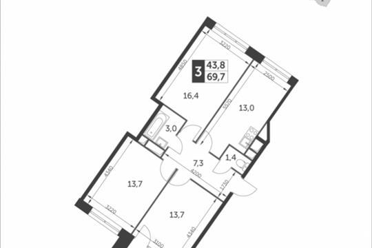 3-комнатная квартира, 69.7 м<sup>2</sup>, 3 этаж