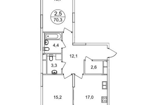 2-комнатная квартира, 70.3 м<sup>2</sup>, 10 этаж