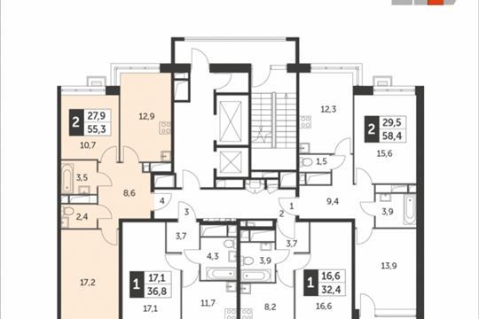 2-комнатная квартира, 55.3 м<sup>2</sup>, 11 этаж
