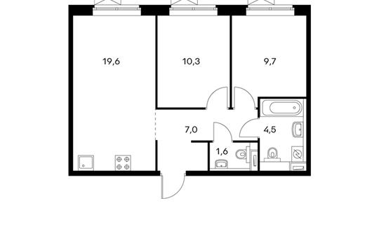 2-комнатная квартира, 52.7 м<sup>2</sup>, 21 этаж