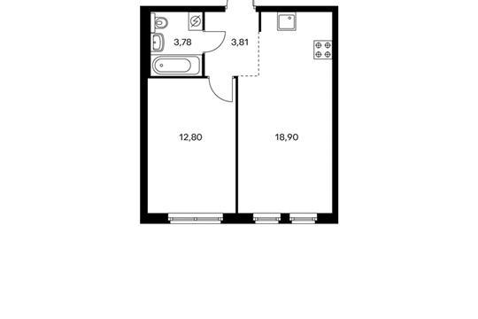 1-комнатная квартира, 39.29 м<sup>2</sup>, 8 этаж