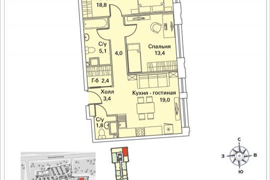 2-комнатная квартира, 68.8 м<sup>2</sup>, 11 этаж