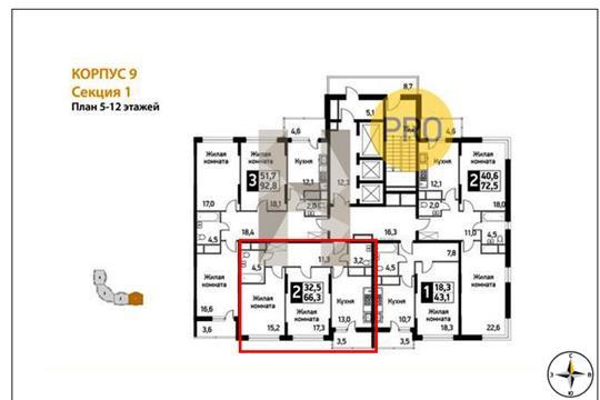2-комнатная квартира, 66.3 м<sup>2</sup>, 11 этаж