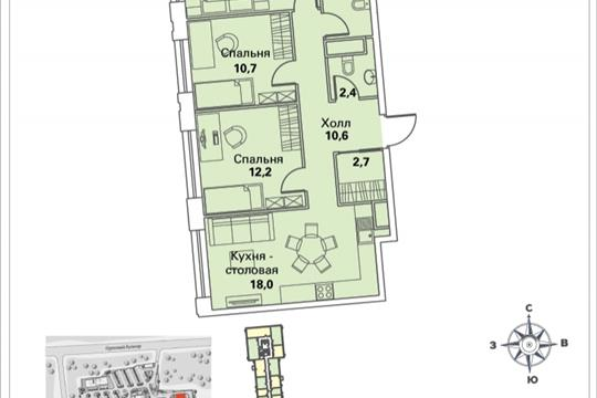 3-комнатная квартира, 77.4 м<sup>2</sup>, 29 этаж
