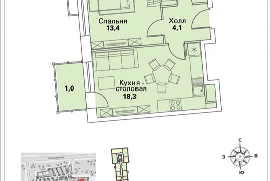 1-комнатная квартира, 40.9 м<sup>2</sup>, 28 этаж