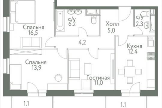 3-комнатная квартира, 74.9 м<sup>2</sup>, 4 этаж