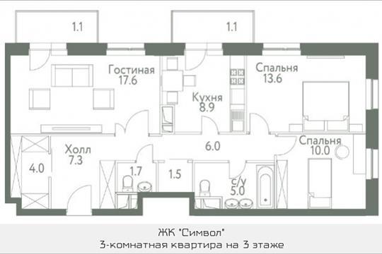3-комнатная квартира, 78.9 м<sup>2</sup>, 3 этаж