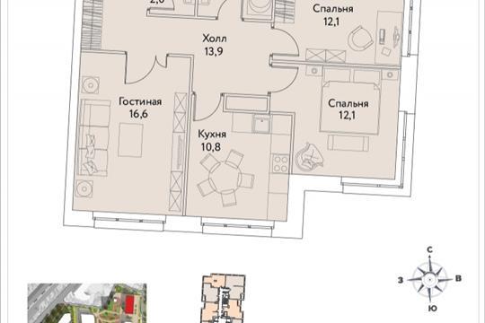 3-комнатная квартира, 71.4 м<sup>2</sup>, 30 этаж