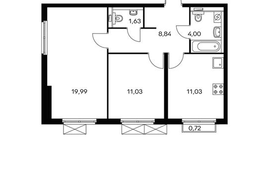 2-комнатная квартира, 56.6 м<sup>2</sup>, 4 этаж