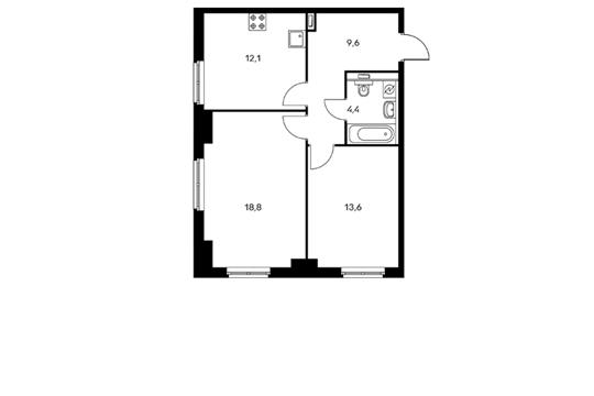 2-комнатная квартира, 58.5 м<sup>2</sup>, 7 этаж
