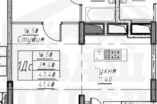 1-комнатная квартира, 41.4 м<sup>2</sup>, 14 этаж