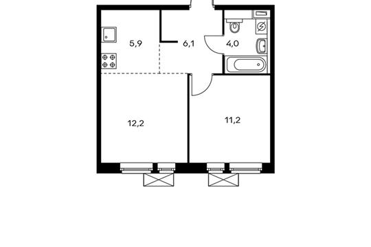 2-комнатная квартира, 39.4 м<sup>2</sup>, 11 этаж