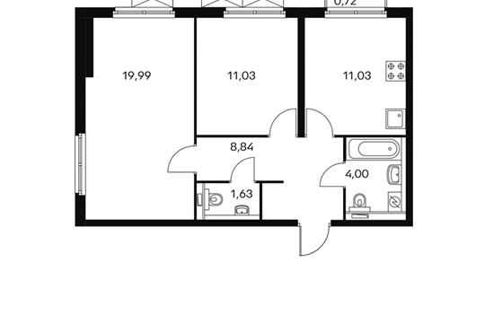 2-комнатная квартира, 56.6 м<sup>2</sup>, 18 этаж