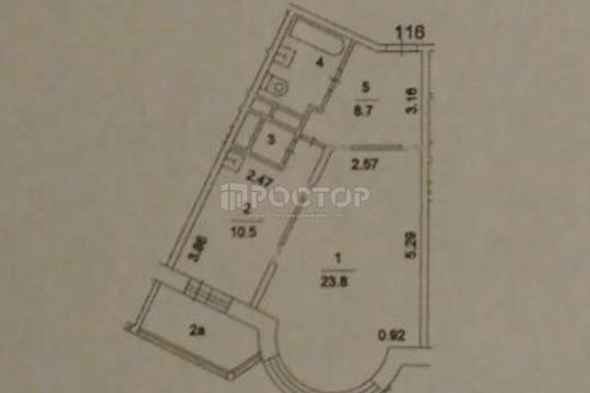 1-комнатная квартира, 48.9 м<sup>2</sup>, 6 этаж