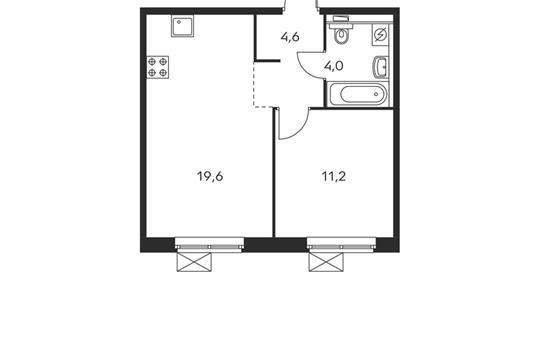 1-комнатная квартира, 39.4 м<sup>2</sup>, 25 этаж_1