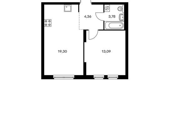 1-комнатная квартира, 40.53 м<sup>2</sup>, 4 этаж