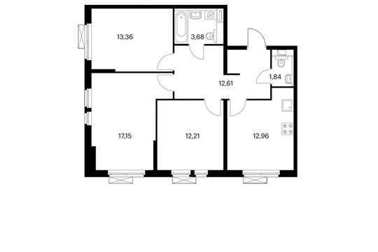 3-комнатная квартира, 73.81 м<sup>2</sup>, 9 этаж
