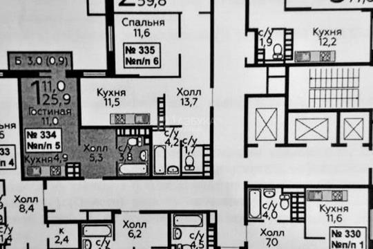 1-комн квартира, 26 м2, 22 этаж