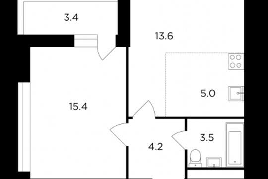 2-комнатная квартира, 43.5 м2, 12 этаж