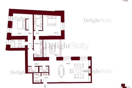 3-комн квартира, 166.3 м2, 2 этаж