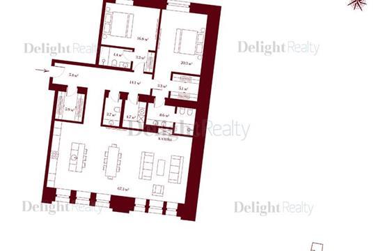 3-комн квартира, 141.9 м2, 2 этаж