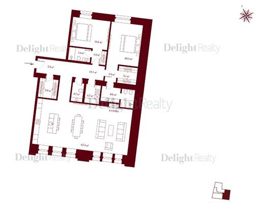 3-комн квартира, 141.9 м2, 2 этаж - фото 1
