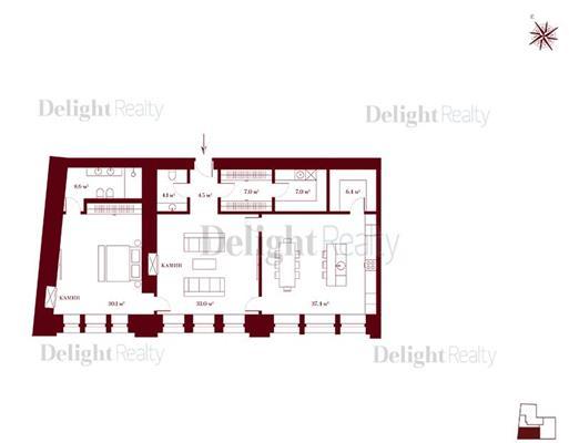 2-комн квартира, 132.4 м<sup>2</sup>, 2 этаж_1