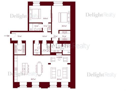 3-комн квартира, 151.6 м2, 3 этаж