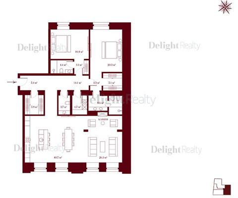 3-комн квартира, 151.6 м<sup>2</sup>, 3 этаж_1