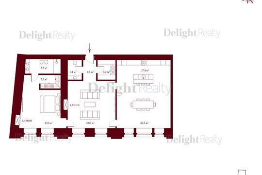 2-комн квартира, 132.6 м2, 3 этаж