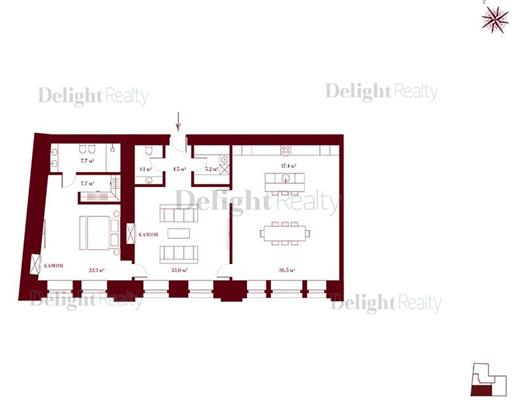 2-комн квартира, 132.6 м2, 3 этаж - фото 1