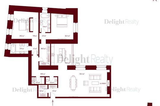 3-комн квартира, 171.7 м2, 4 этаж