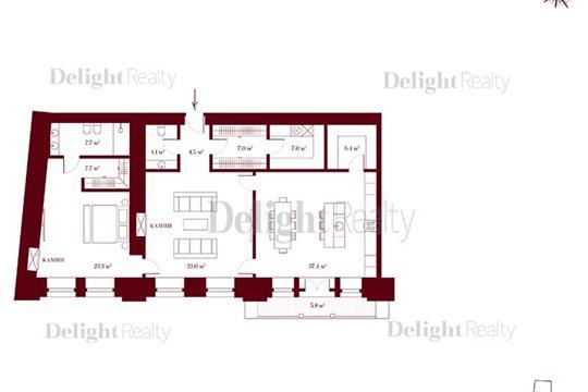 2-комн квартира, 136.4 м2, 4 этаж