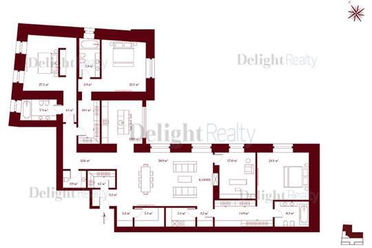 4-комн квартира, 250.5 м2, 5 этаж