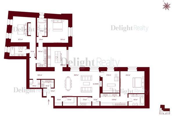 4-комн квартира, 250.5 м2, 5 этаж - фото 1