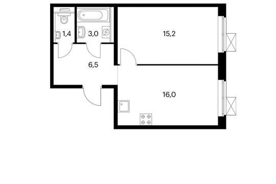 1-комнатная квартира, 42.1 м<sup>2</sup>, 5 этаж