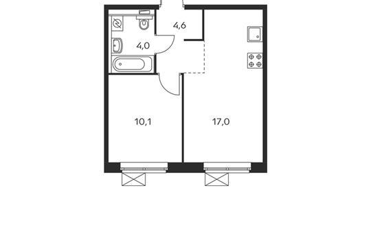 1-комнатная квартира, 35.7 м<sup>2</sup>, 23 этаж