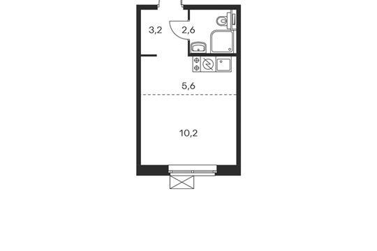 1-комнатная квартира, 21.6 м<sup>2</sup>, 25 этаж