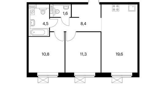 2-комнатная квартира, 56.2 м<sup>2</sup>, 11 этаж