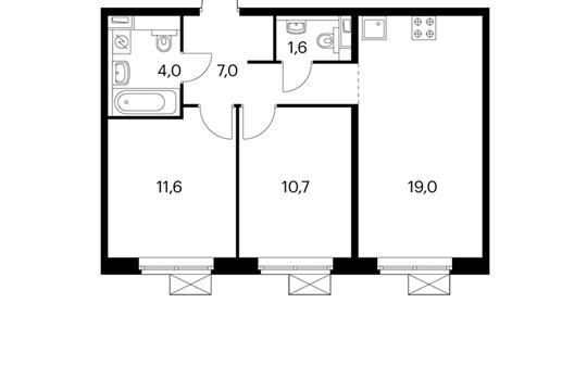 2-комнатная квартира, 54 м<sup>2</sup>, 10 этаж