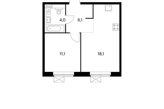 1-комнатная квартира, 39.3 м<sup>2</sup>, 11 этаж