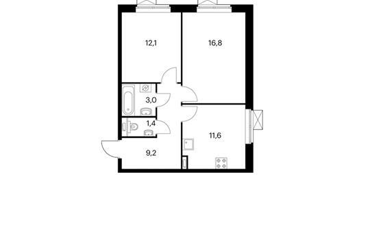 2-комнатная квартира, 54.1 м<sup>2</sup>, 9 этаж