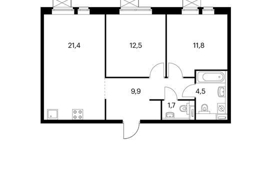2-комнатная квартира, 61.8 м<sup>2</sup>, 24 этаж