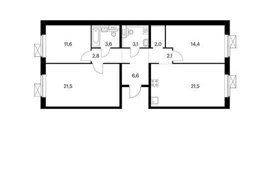 3-комнатная квартира, 89.2 м<sup>2</sup>, 5 этаж